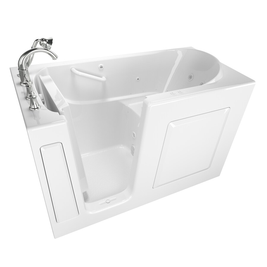 Shop American Standard 59 In White With Left Hand Drain Bathtub And Faucet Included At