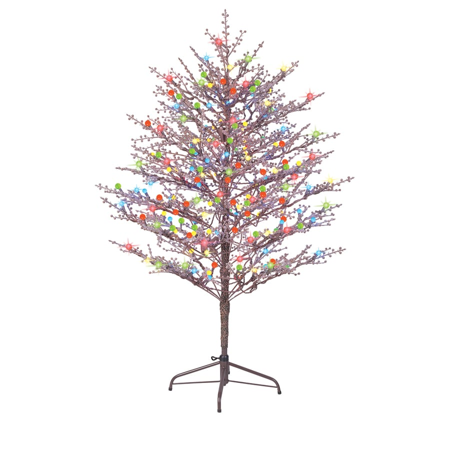 GE 60 In Winterberry Tree With Multicolor LED Lights At