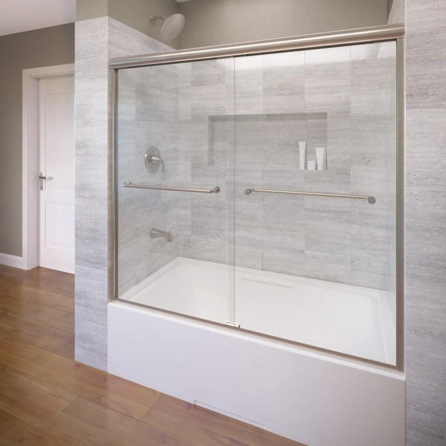 Shop Basco 585 In W X 57 In H Brushed Nickel Frameless Bathtub Door At