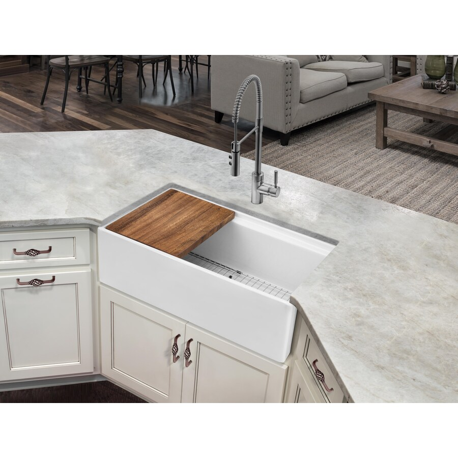 superior sinks farmhouse apron front 33 in x 19 in white single bowl kitchen sink