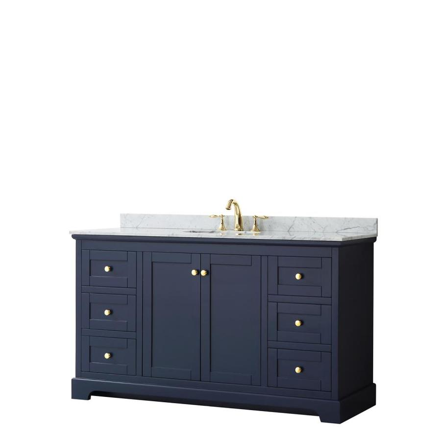 wyndham collection avery 60 in dark blue undermount single sink bathroom vanity with white carrara marble natural marble top