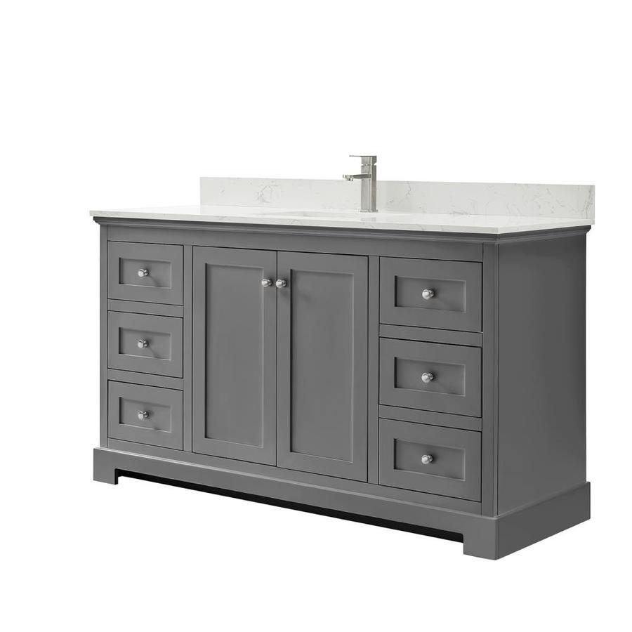 wyndham collection ryla 60 in dark gray undermount single sink bathroom vanity with carrara cultured marble cultured marble top