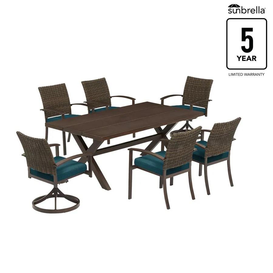 atworth 7 piece brown frame patio set with dupione deep sea sunbrella cushions lowes com