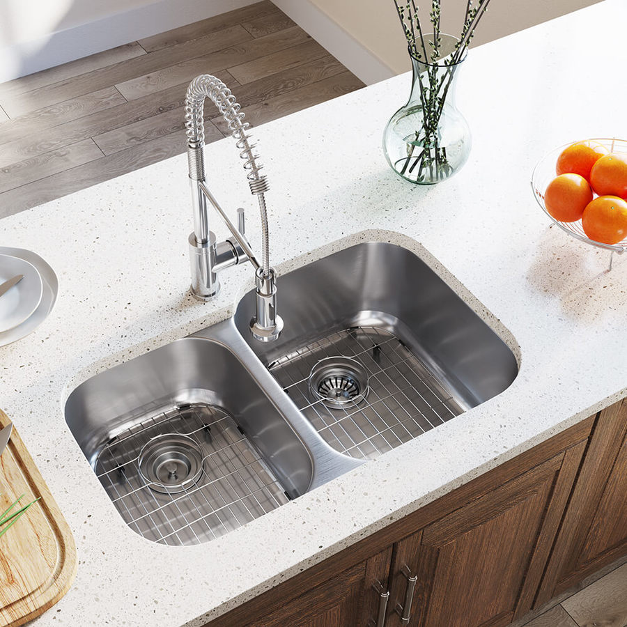 mr direct undermount 32 in x 20 75 in stainless steel double offset bowl kitchen sink lowes com