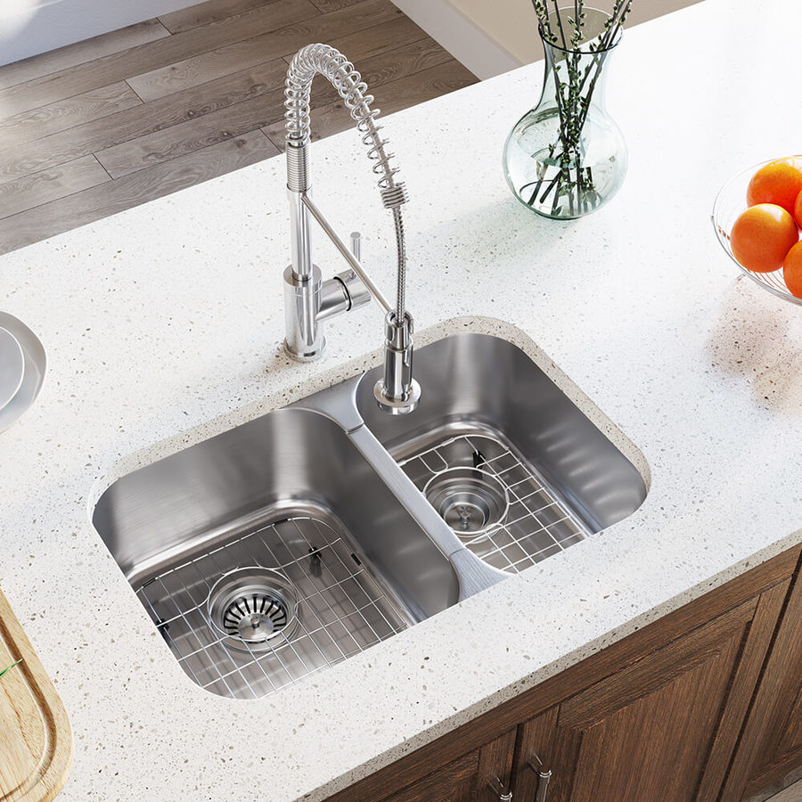 mr direct undermount 27 5 in x 18 in stainless steel double offset bowl kitchen sink