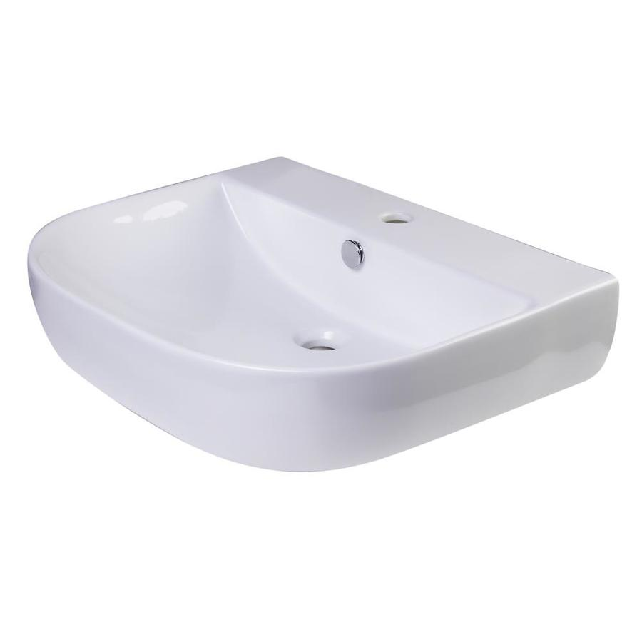 alfi brand white porcelain wall mount oval bathroom sink with overflow drain 26 in x 22 in