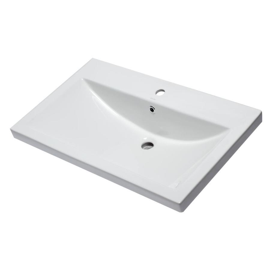 eago white porcelain drop in rectangular bathroom sink with overflow drain 31 5 in x 19 13 in