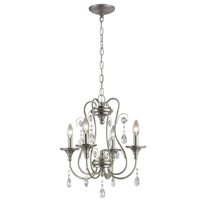 Portfolio O 17 In 4 Light Brushed Nickel Crystal Candle Chandelier