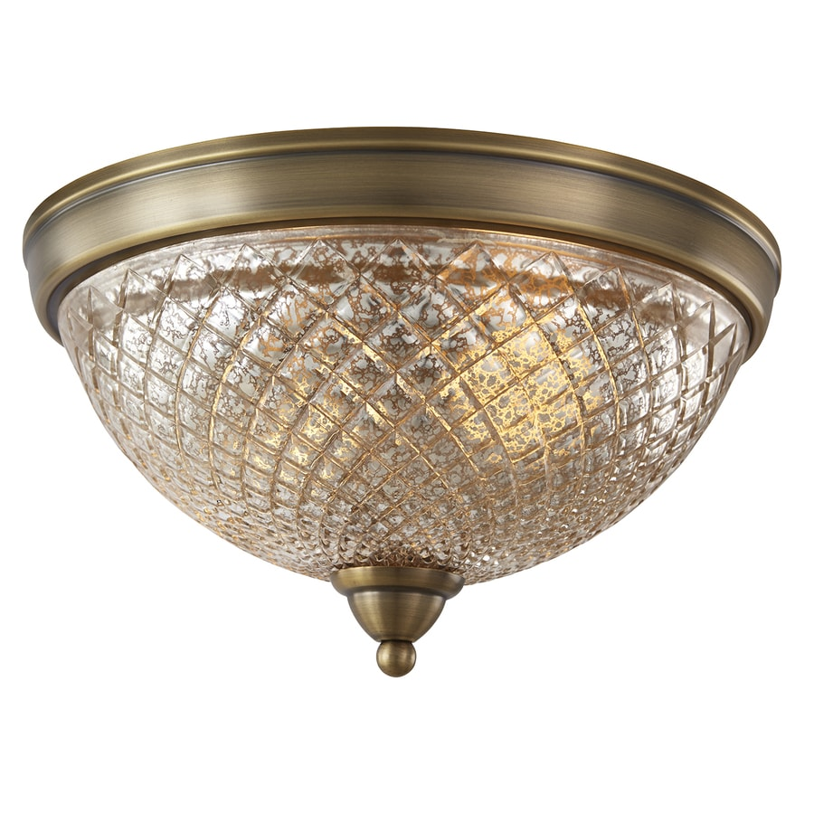 allen roth lynlore 13 in old brass traditional incandescent flush mount light
