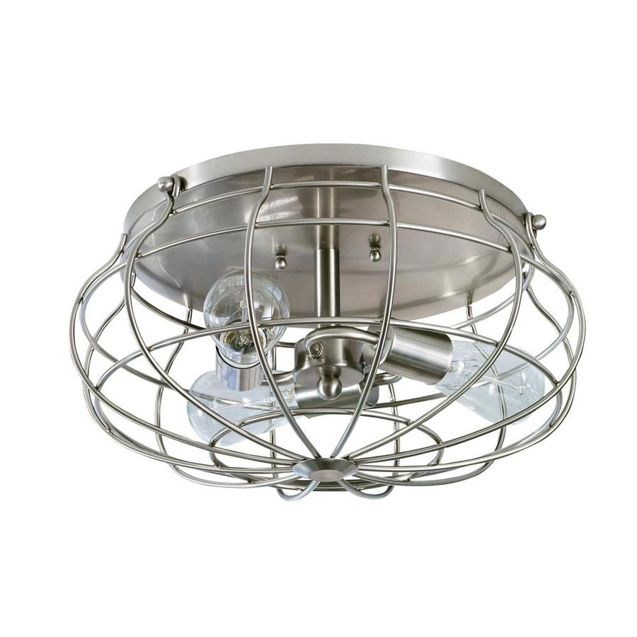allen roth yordan 15 in brushed nickel industrial incandescent flush mount light