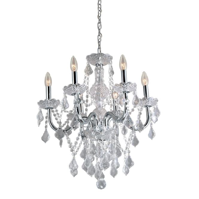 Portfolio 20 86 In 6 Light Polished Chrome Vintage Crystal Candle Chandelier