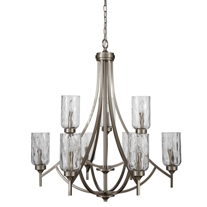 Allen Roth Latchbury 32 24 In 9 Light Brushed Nickel Craftsman Textured Glass Tiered