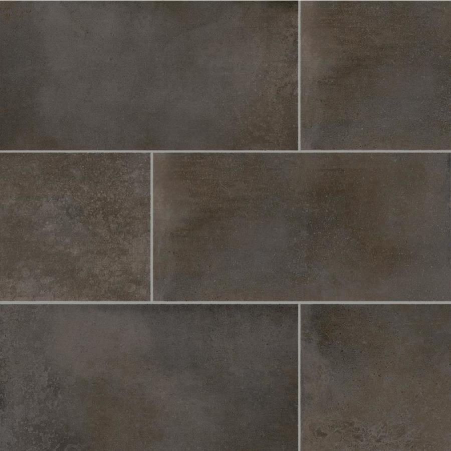della torre oxyd 9 pack rust 12 in x 24 in glazed porcelain cement look floor and wall tile