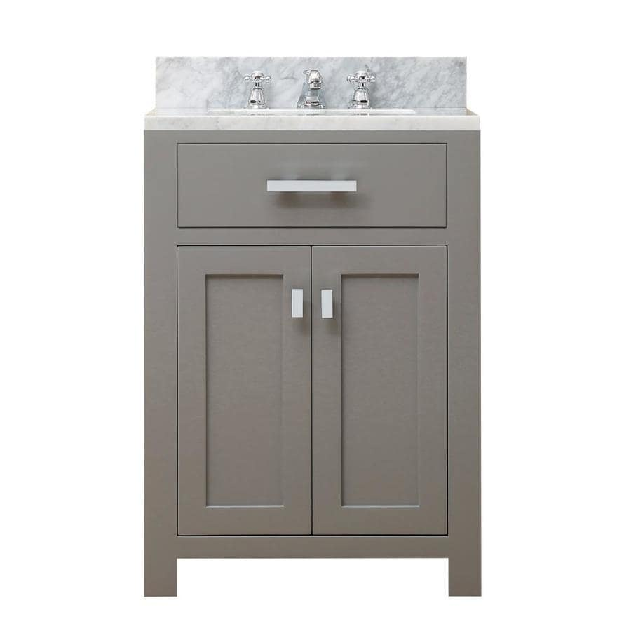 water creation madison 24 in cashmere grey undermount single sink bathroom vanity with carrara white natural marble top