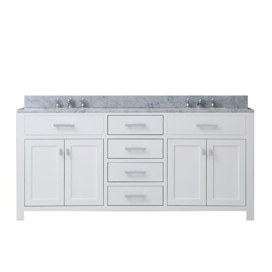 water creation madison 72 in pure white undermount double sink bathroom vanity with carrara white natural marble top
