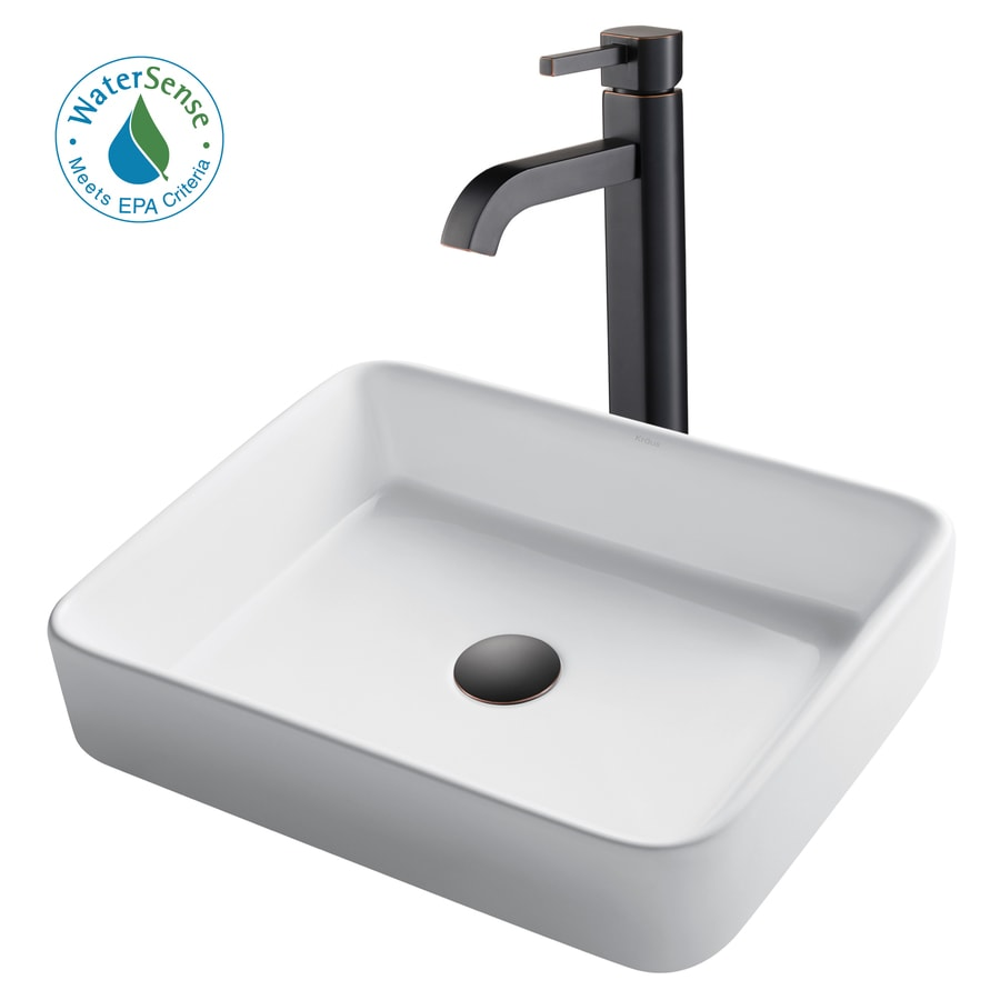 kraus white ceramic vessel rectangular bathroom sink with faucet drain included 18 75 in x 14 25 in