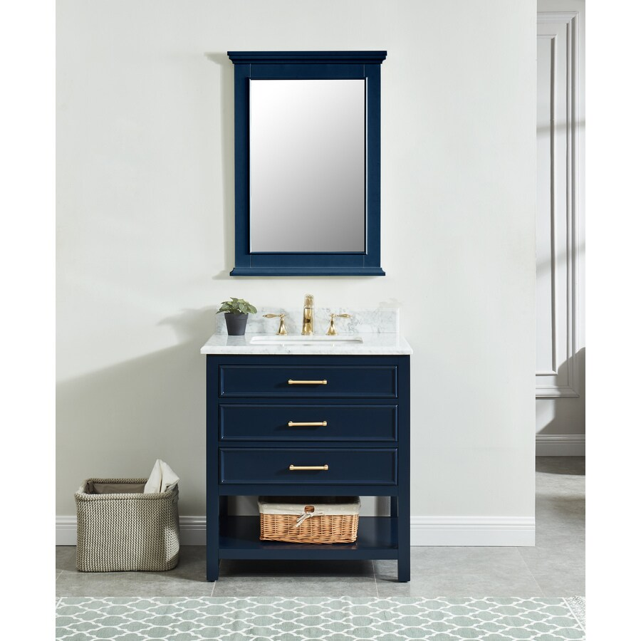 allen roth presnell 31 in navy blue undermount single sink bathroom vanity with carrara white natural marble top