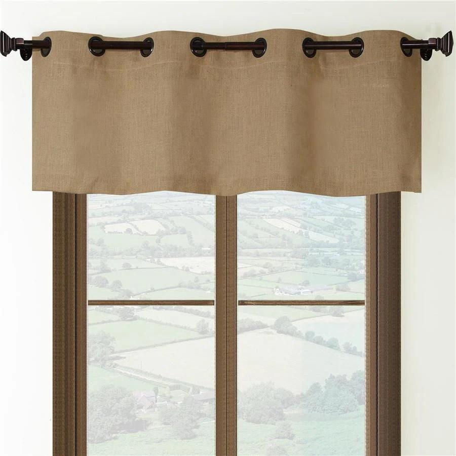 allen roth 18 in tan burlap light filtering grommet single curtain panel