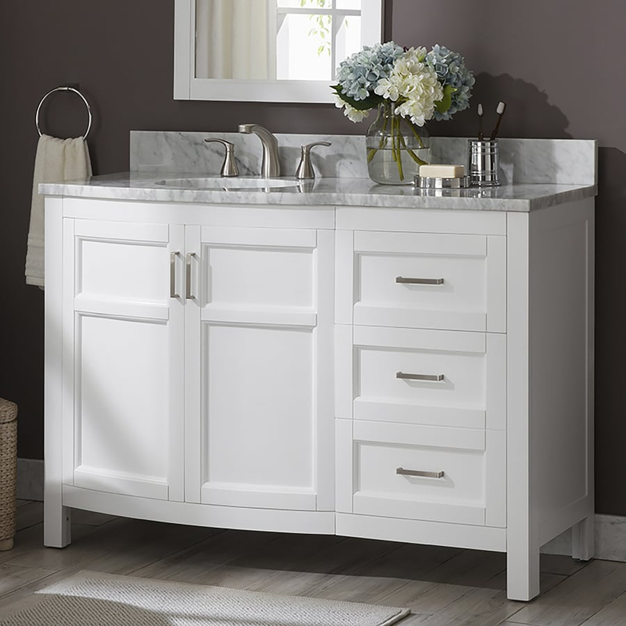 allen roth moravia 48 in white undermount single sink bathroom vanity with natural carrara marble top