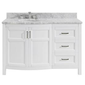 allen roth moravia 48 in white single sink bathroom vanity with natural carrara marble
