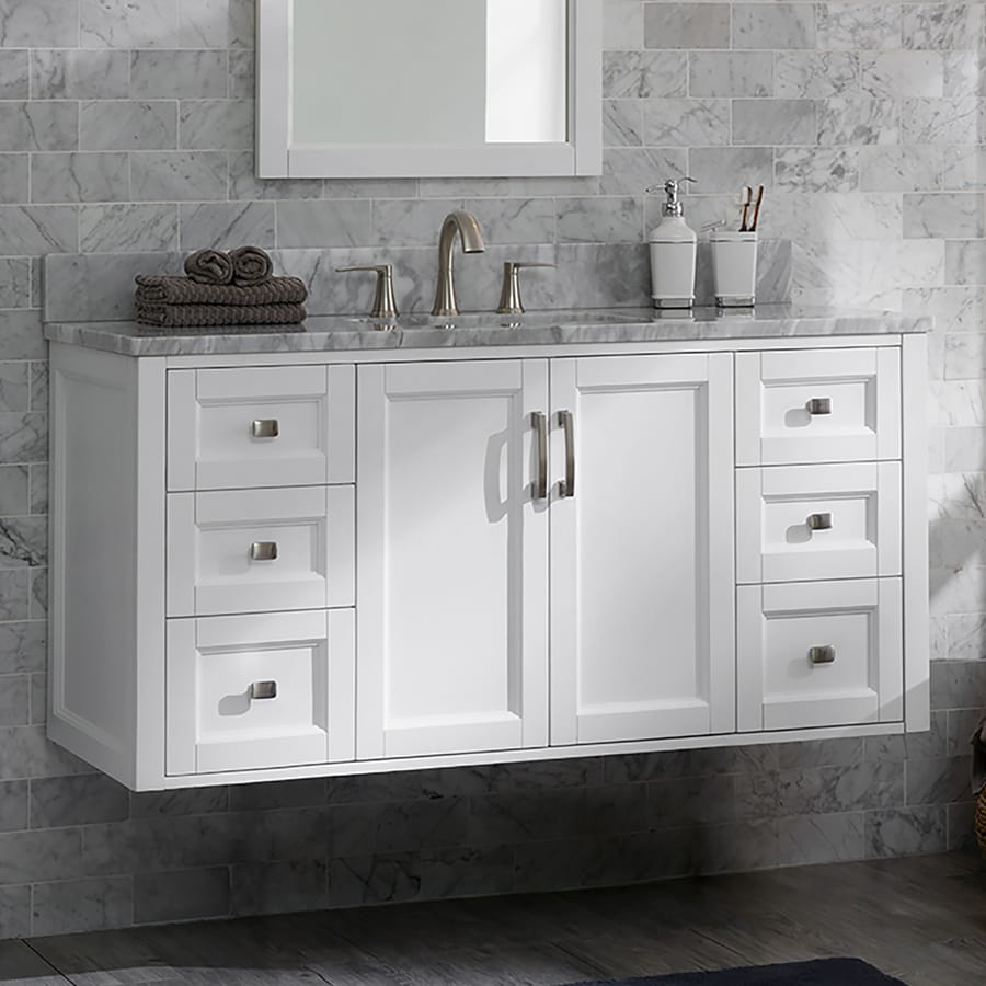 allen roth floating 48 in white single sink bathroom vanity with natural carrara marble top