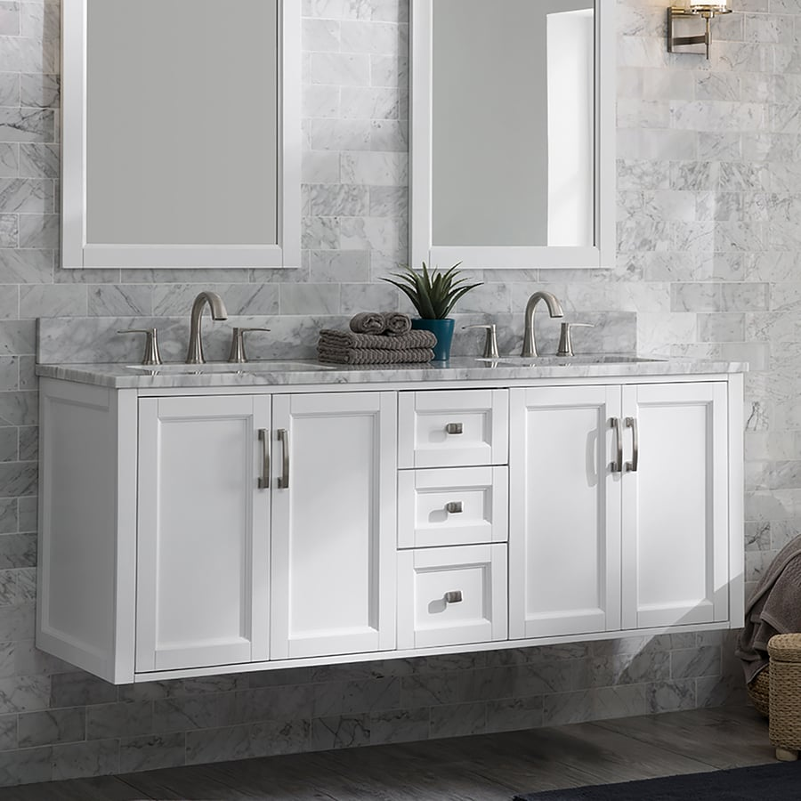 allen roth floating 60 in white undermount double sink bathroom vanity with natural carrara marble top