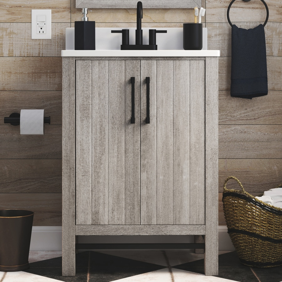 style selections 25 in barnwood single sink bathroom vanity with white acrylic top mirror included