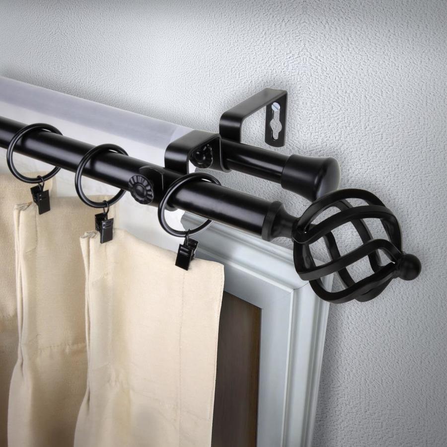 rod desyne 13 16 in twist 28 in to 48 in black steel double curtain rod