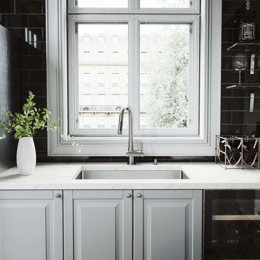 vigo mercer undermount 30 in x 19 in stainless steel single bowl workstation kitchen sink all in one kit