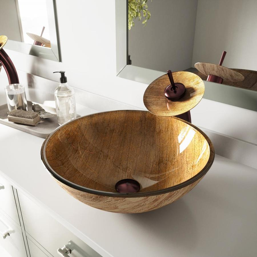 vigo vessel sink wooden glass vessel round bathroom sink with faucet drain included 16 5 in x 16 5 in in the bathroom sinks department at lowes com