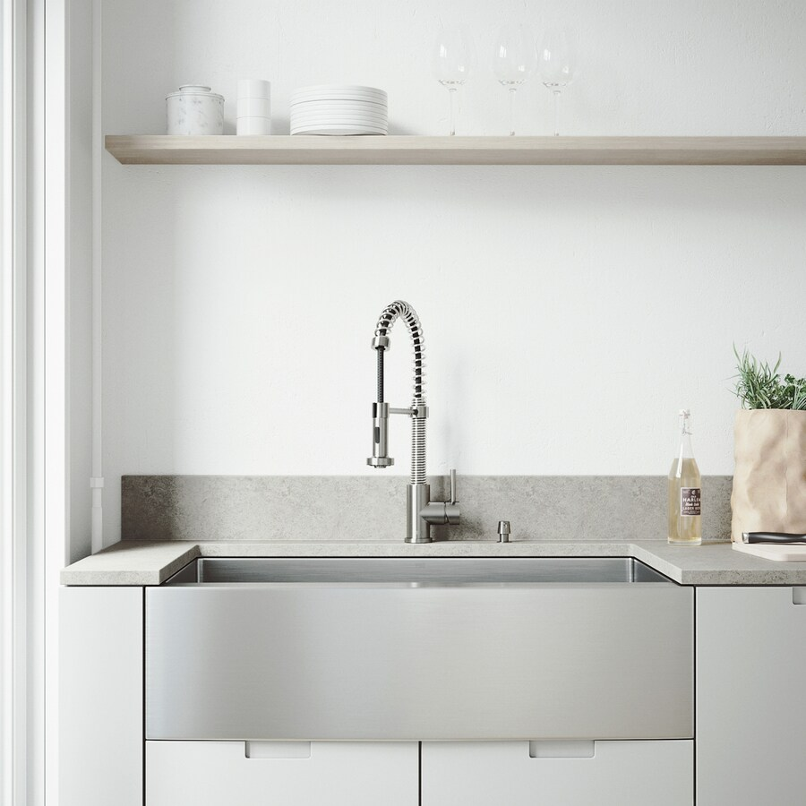 vigo bedford farmhouse apron front 36 in x 22 25 in stainless steel single bowl workstation kitchen sink all in one kit
