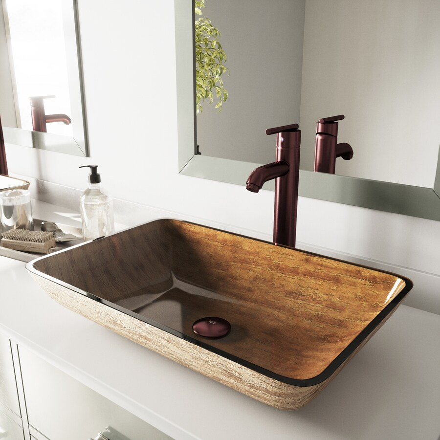 vigo vessel sink light wood glass vessel rectangular bathroom sink with faucet drain included 14 5 in x 22 5 in in the bathroom sinks department at lowes com