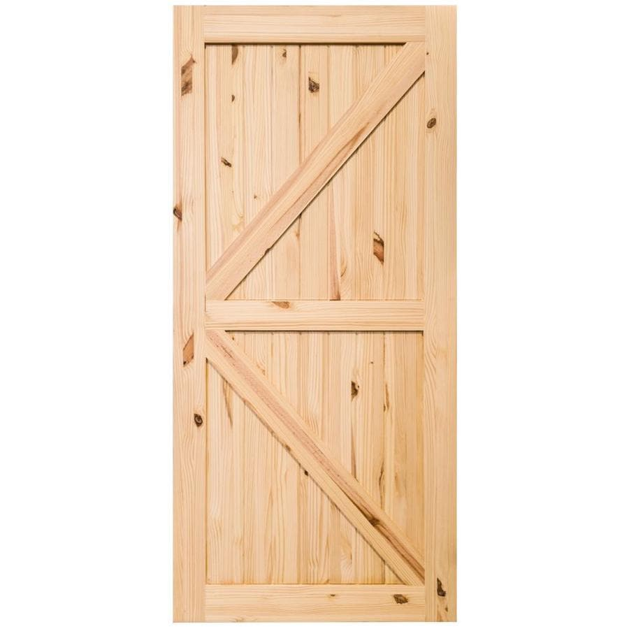 Creative Entryways Sliding Barn Door 36 In X 84 In Unfinished 2 Panel Unfinished Pine Wood Single Barn Door In The Barn Doors Department At Lowes Com