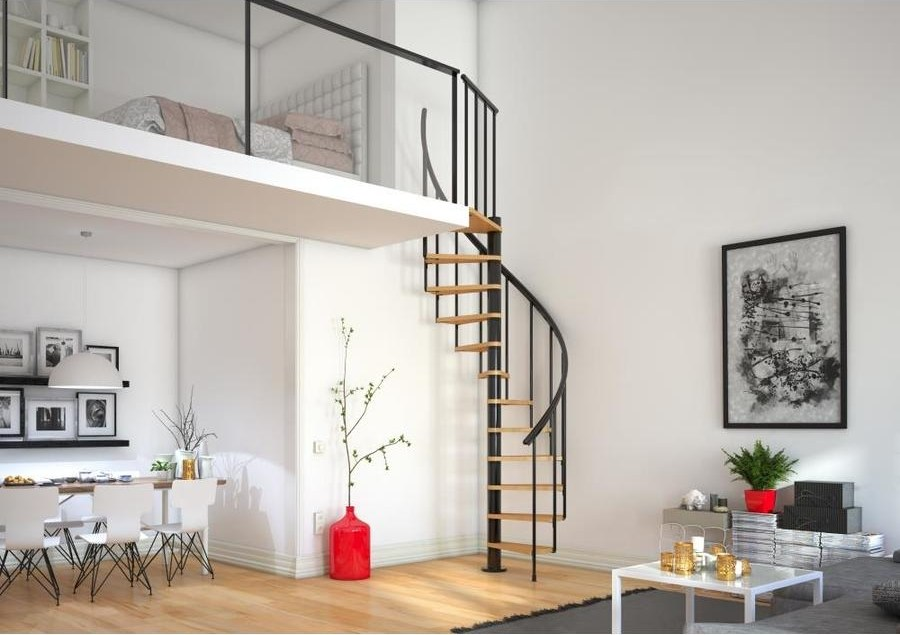 Dolle Calgary 55 In X 9 2 Ft Black Spiral Staircase Kit In | Dolle Calgary Spiral Staircase