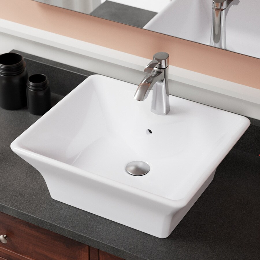 mr direct white porcelain vessel rectangular bathroom sink with overflow drain 19 75 in x 16 63 in