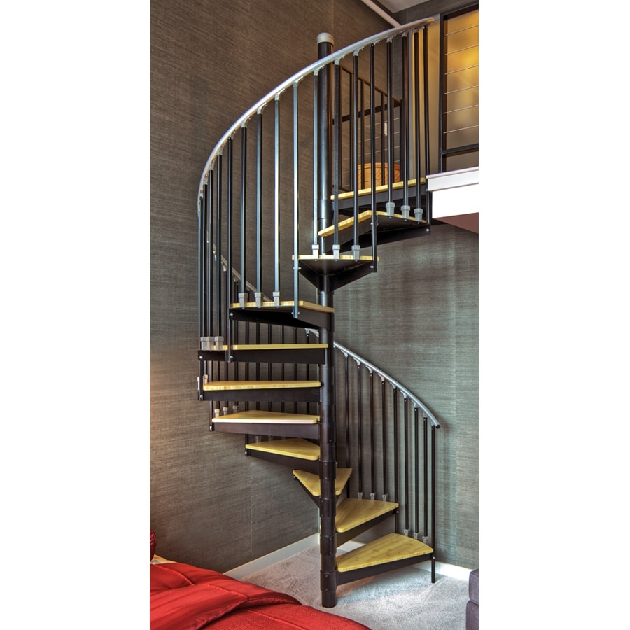 The Iron Shop Ontario 60 In X 10 25 Ft Black Spiral Staircase Kit | Spiral Staircase Near Me | Steel | Local Handyman | Handrail | Curved Staircase | Staircase Design