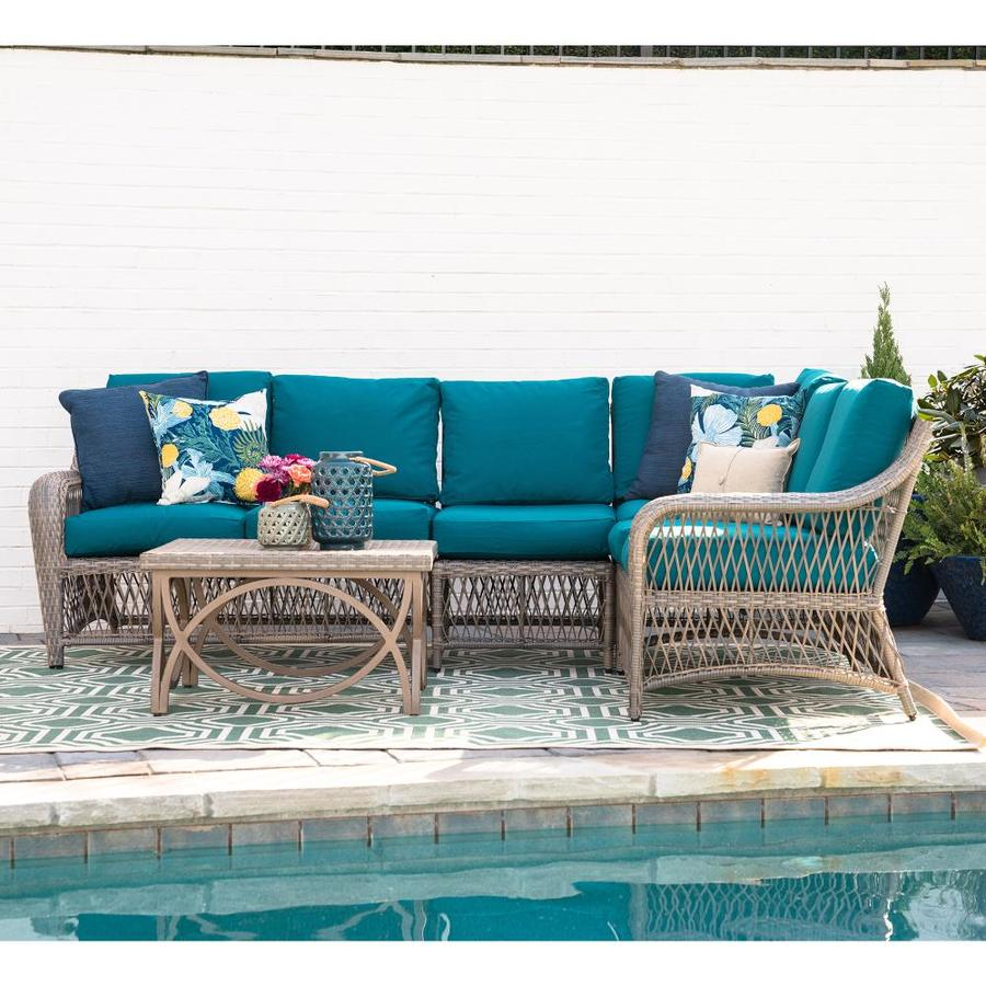 leisure made birmingham 5 piece metal frame patio conversation set with cushion s included