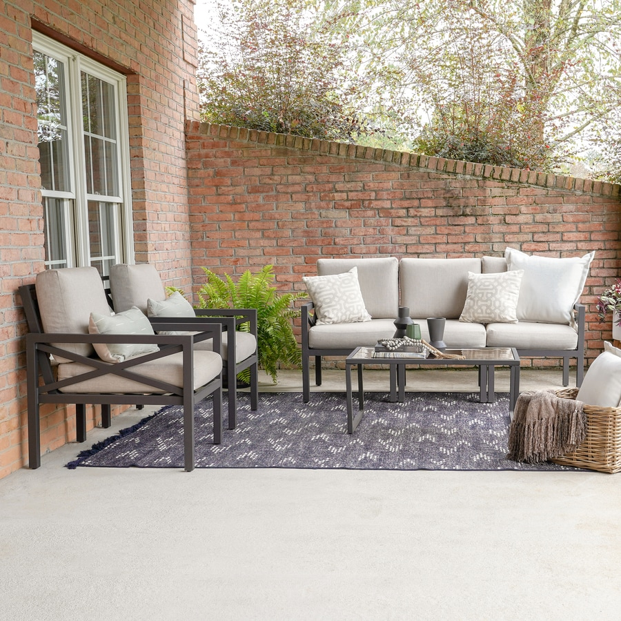leisure made blakely 6 piece metal frame patio conversation set with sunbrella cushion s included
