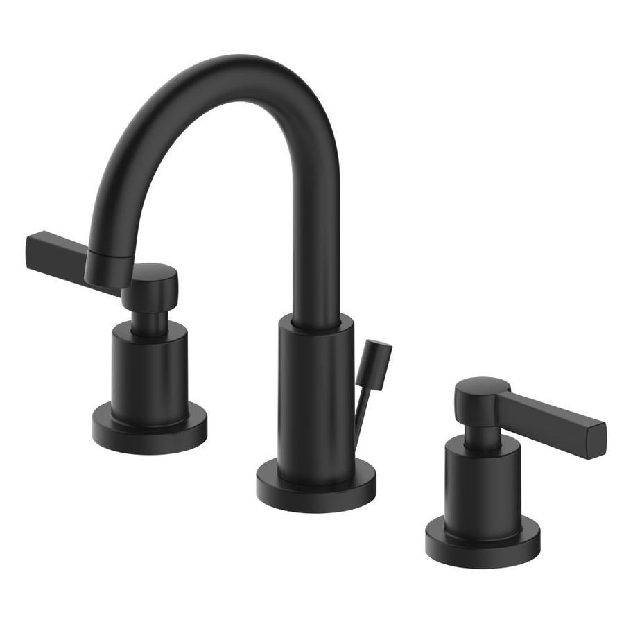 home2o sivan matte black 2 handle widespread watersense bathroom sink faucet with drain lowes com