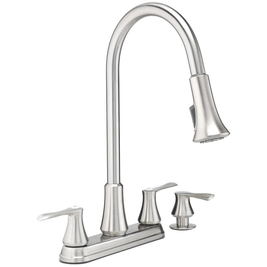 project source stainless steel 2 handle deck mount pull down handle kitchen faucet deck plate included