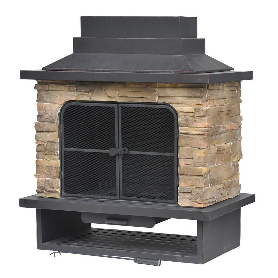 Shop Garden Treasures Brown Steel Outdoor Wood-Burning ... on Quillen Steel Outdoor Fireplace  id=43167