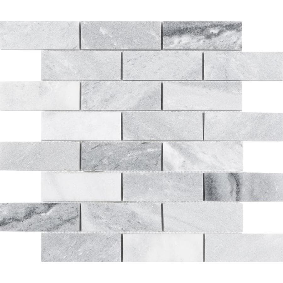 satori storm polished 12 in x 12 in polished natural stone marble brick marble look wall tile lowes com