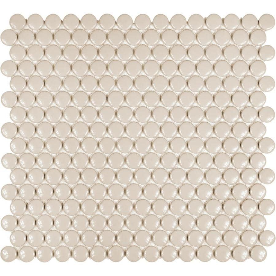 satori hudson fog gray glossy 12 in x 12 in glossy porcelain penny round floor and wall tile