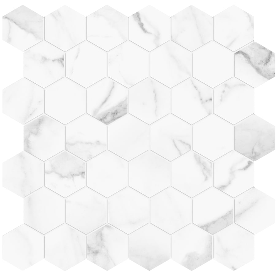 satori statuario 12 in x 12 in polished porcelain hexagon marble look floor and wall tile lowes com