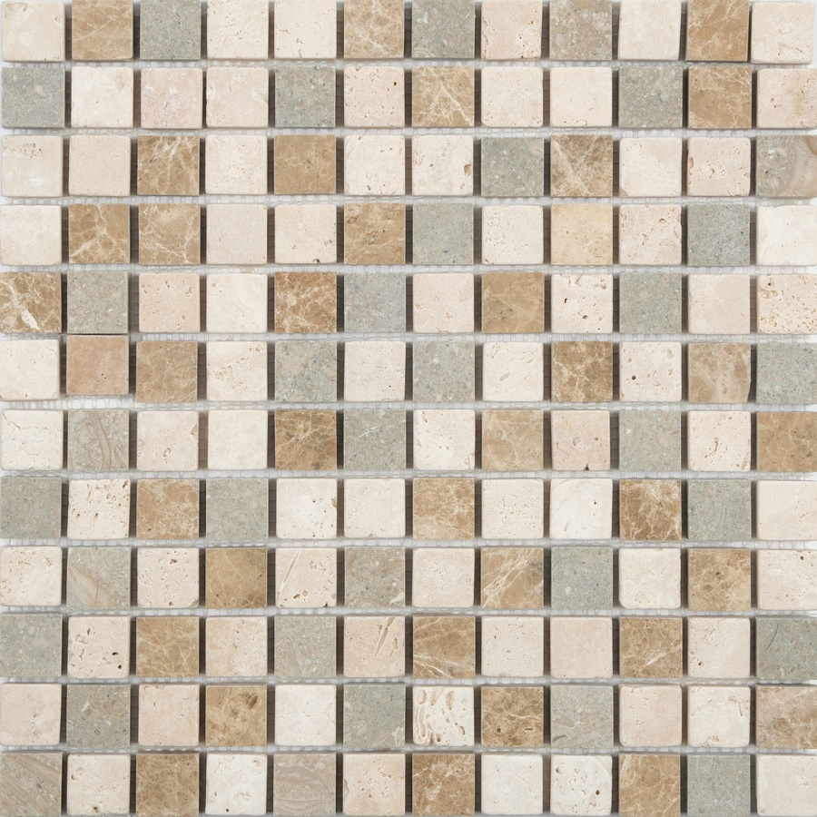 satori countryside 12 in x 12 in multi finish natural stone travertine uniform squares wall tile lowes com