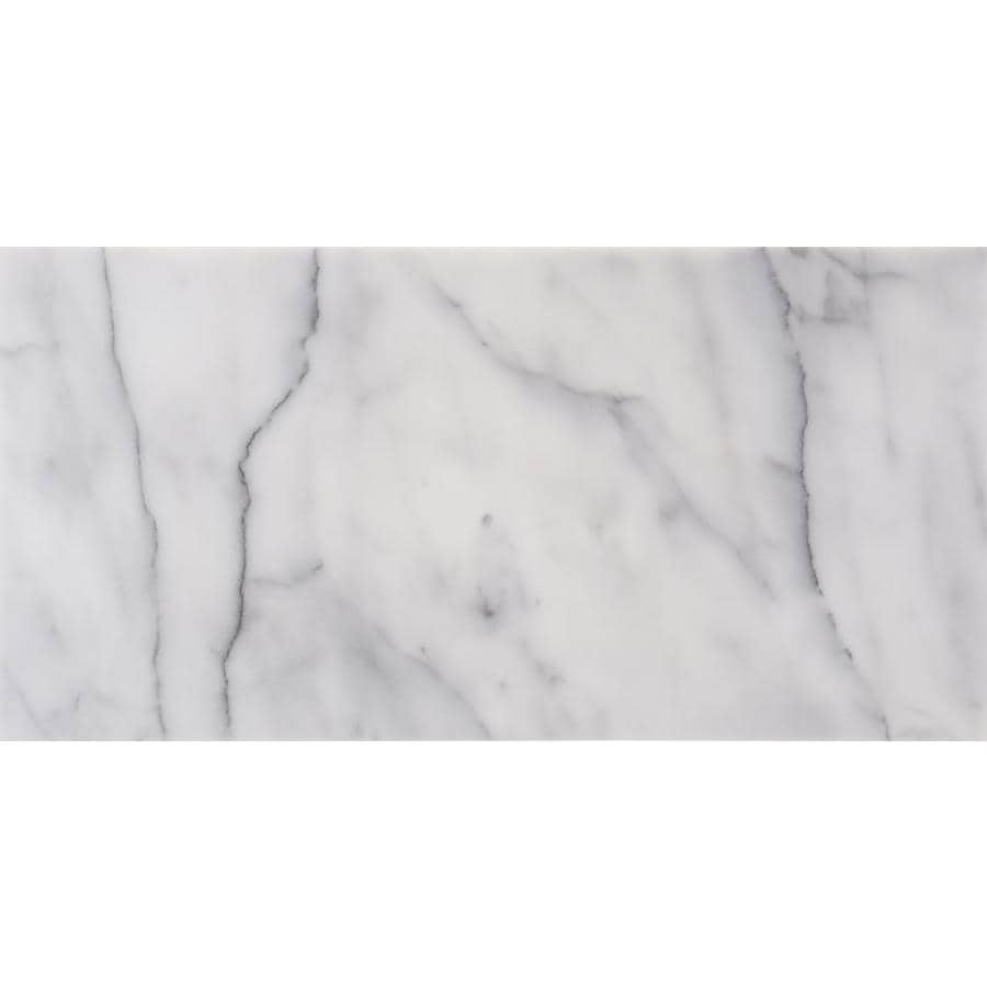 satori bianco glacier 12 in x 24 in polished natural stone marble floor and wall tile