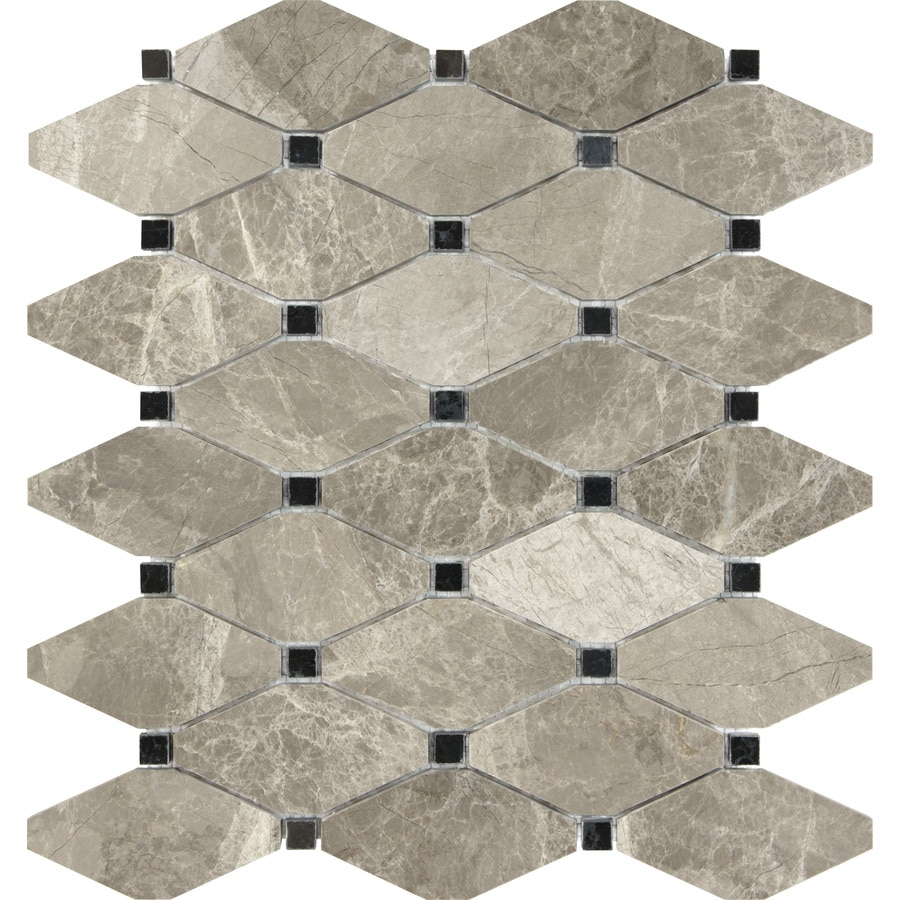 anatolia tile silver creek diamond mosaic marble wall tile common 12 in x 10 in actual 12 in x 10 39 in