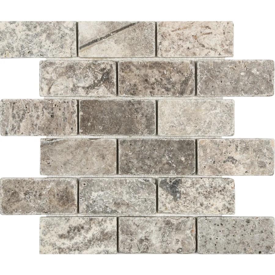 satori silver crescent 12 in x 12 in tumbled natural stone travertine brick subway wall tile