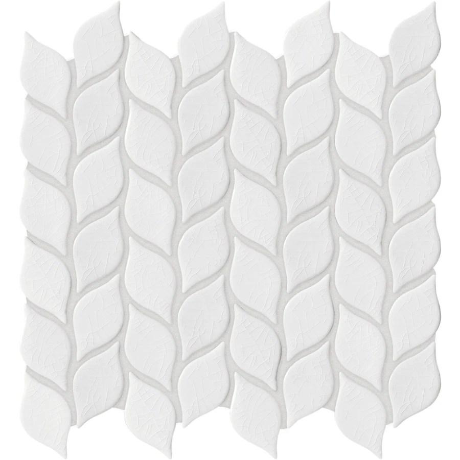 anatolia tile vanilla leaf 12 in x 12 in crackled ceramic wall tile