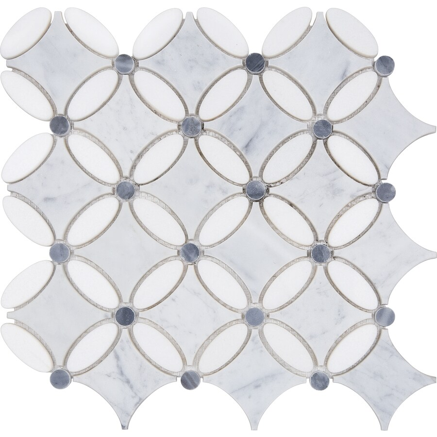 satori flower 12 in x 12 in polished natural stone marble tile lowes com